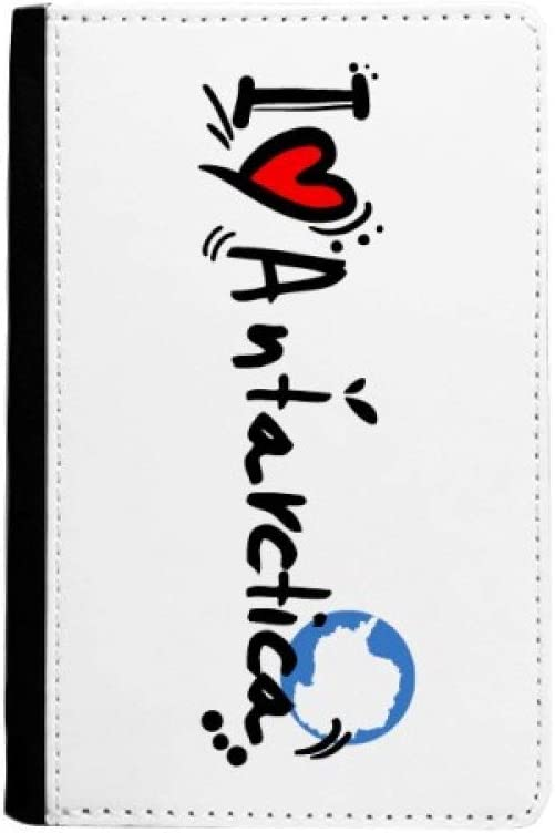 I Love Antarctique Word Flag Love Heart Illustration Passeport /Étui Portefeuille de Voyage pour Cartes