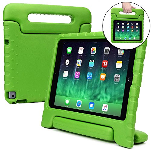 COOPER DYNAMO Shock Proof Kids case compatible with iPad Air 2 | Heavy Duty Kidproof Cover for Kids | Girls, Boys, School | Kid Friendly Handle & Stand, Screen Protector | Apple A1566 A1567 (Green)