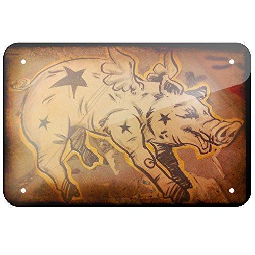Flying Sign Tin (Metal Sign Flying Pig, art, Small 12x18 Inch Metal Tin Sings)
