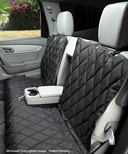4Knines Dog Seat Cover Without Hammock for Fold Down Rear Bench Seat 60/40 Split and Middle Seat Belt Capable - Heavy Duty - Black Regular - Fits Most Cars, SUVs, and Small Trucks - USA Based Company by 4Knines