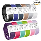 (US) Fitbit Charge 2 Replacement band-Budesi Adjustable Wristbands Strap for Fitbit Charge 2 Replacement -12 Pack Large