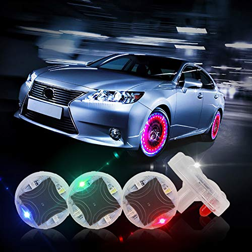 CARLITS Tire Wheel Lights, 4pcs Car Wheel Tire Air Valve, hub lamp Cap Light with Motion Sensors Colorful LED, Tire Light Gas Nozzle,for Car Bicycle Motorcycles