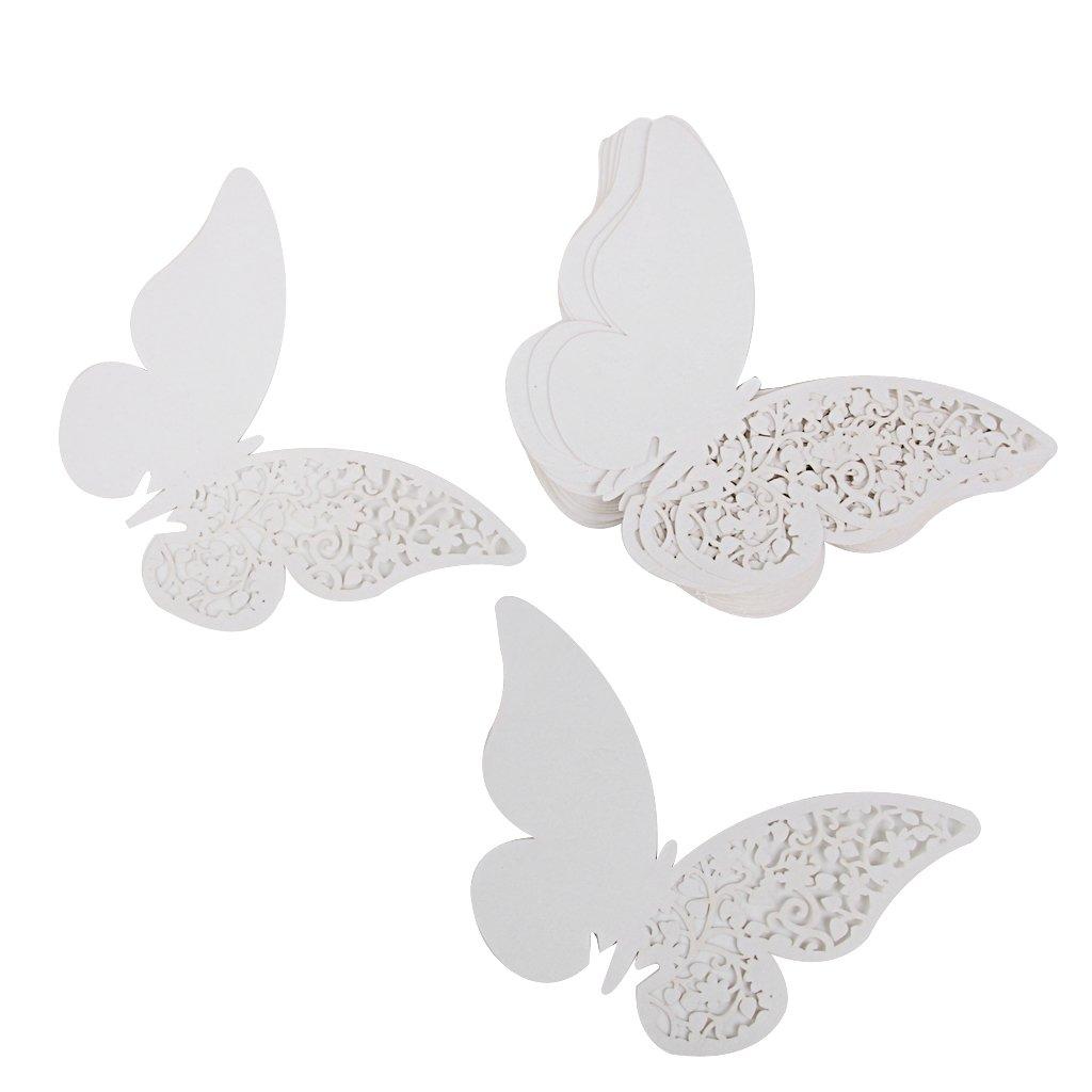 Lot de 50pcs Carte de Verre Marque Place Forme de Papillon Décoration de Table (Blanc)