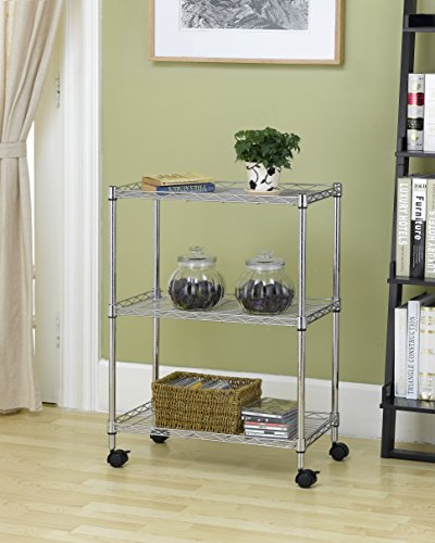 BestOffice NEW Wire Shelving Cart Unit 3 Shelves w/casters Shelf Rack Wheels Chrome