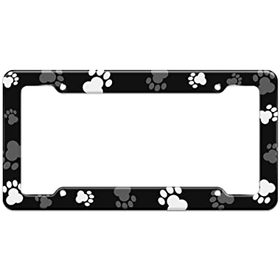 Graphics and More Blank Paw Print Dog Cat Pattern License Plate Frame: Automotive