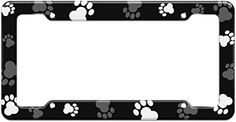 ALL MY KIDS HAVE PAWS Black Metal license plate frame Free Caps Pets Dog Cat