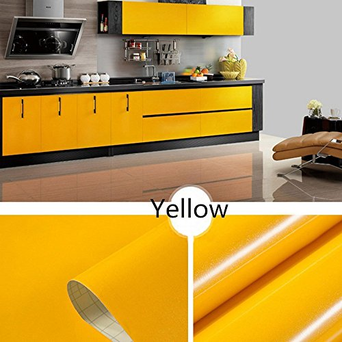 Gotian Shiny Self-Adhesive Tile Furniture Stickers Wall Decal Sticker DIY Wallpaper Home Kitchen Bathroom Decor - PVC Removable Refurbished 100x40cm (Yellow) ()