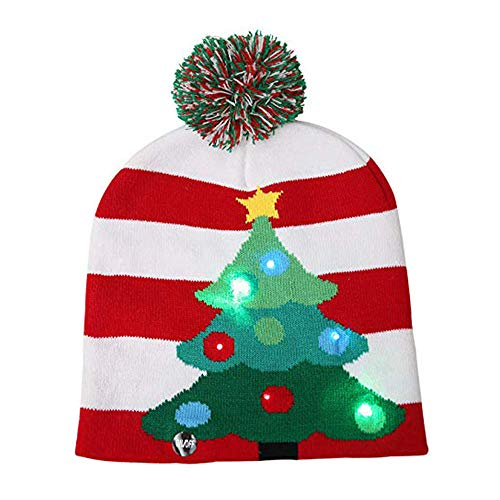 Asodomo LED Light up Hat Knitted Ugly Sweater Holiday Xmas Christmas Beanies Colorful Lights Flashing Hat Knit Cap (Christmas Tree)