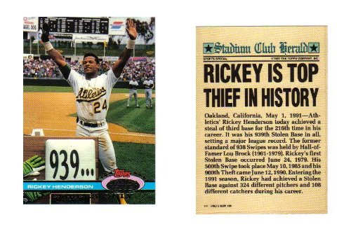 (Rickey Henderson Stolen Base Record Commemorative Limited Edition Topps Stadium Club Member's Only Baseball Card )