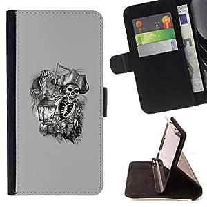 - pirate skull captain ship ahoy grey - - Prima caja de la PU billetera de cuero con ranuras para tarjetas, efectivo desmontable correa para l Funny HouseFOR Sony Xperia Z3 D6603