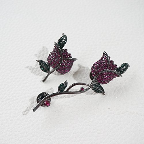 (-204) European and American style retro diamond brooch rose a solid suit