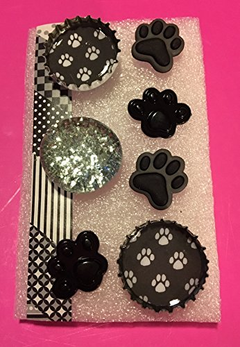 Recycled Bottle Cap Tacks, Glitter Glass and Resin Paw Print Tacks, Memo Board, Bulletin/Cork Board, Hostess Gifts, Animal Lover, Dorm Decor