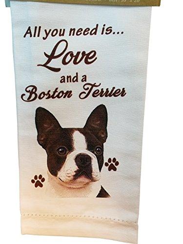 (E&S Pets 700-76 Boston Terrier Kitchen Towels, Off-white)
