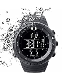 Men's All Black Sports Digital Wrist Watch Electronic Quartz Movement Military Time LED Backlight Watches for Men