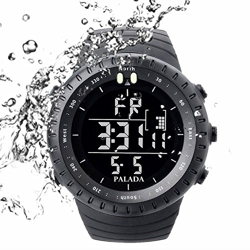 PALADA Men's Sports Digital Wrist Watch All Black Electronic Multifunction Waterproof Military Watches for Men by PALADA