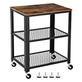 SONGMICS Vintage Serving Cart, 3-Tier Kitchen Utility Cart on Wheels with Storage for Living Room, Wood Look Accent Furniture with Metal Frame ULRC78X For Sale