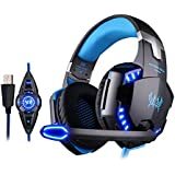 VersionTech Stereo 7.1 Surround Pro USB Gaming Headset PC Headset Headphones with Microphone,Cool LED Lights,Super Vibration for Pro Gamer(Incompatible with PS4 PS3 Xbox 360 Xbox One)