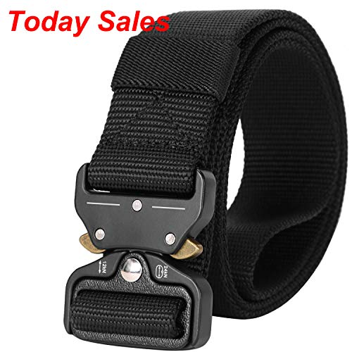 Mens Nylon Belt Webbing, SANSTHS Tactical Duty Belt 1.5 in Upgraded Aluminum Alloy Quick Release Buckle, Black S