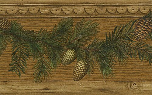 Blue Mountain 51672920 Cone Wood Wallpaper Border, Brown Pine