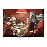 C.M. Coolidge Pinched with Four Aces Dogs Playing Poker CM Art Print Poster Mini Poster Mini Poster Print, 20x16