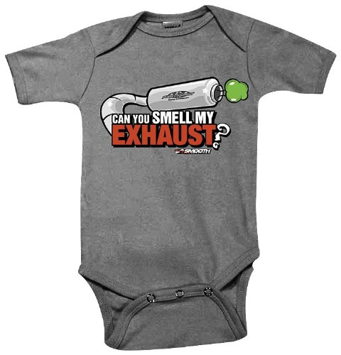 Exhaust Romper (Smooth Smell My Exhaust Infant Romper , Size: 12-18 months, Size Segment: Youth, Primary Color: Gray, Gender: Boys 1605-103)