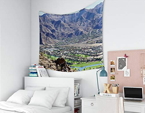 Boho Throw Blankets,Jacrane Art Tapestries With 60X50 Inches View Indian Canygolf Course In Palm Springs From Hiking Trails In Desert Mountain For Dorm Bedroom Living Home Decor