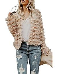 Womens Coat Long Sleeve Open Front Parka Shaggy Faux Fur Coat Jacket Parka by
