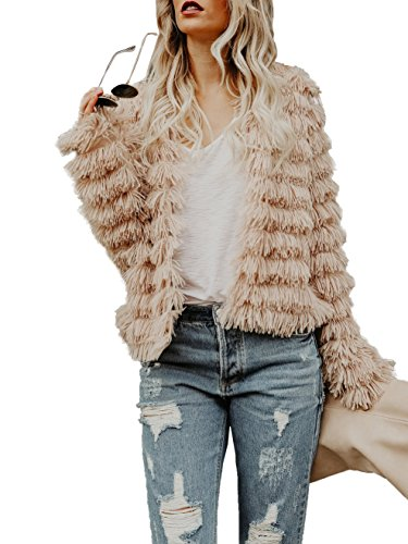 Lovaru Womens Coat Long Sleeve Open Front Parka Shaggy Faux Fur Coat Jacket Parka Coffee