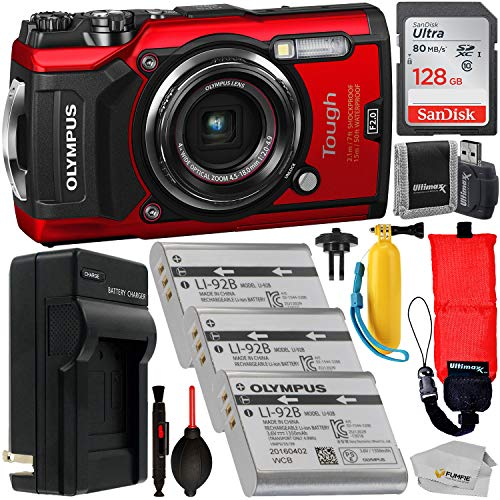 Olympus Tough TG-5 Digital Camera (Red) with Premium Accessory Bundle - Includes: SanDisk Ultra 128GB SDXC Memory Card + 2x Spare Batteries with Charger + Floating Wrist Strap + Floating Handle + MORE