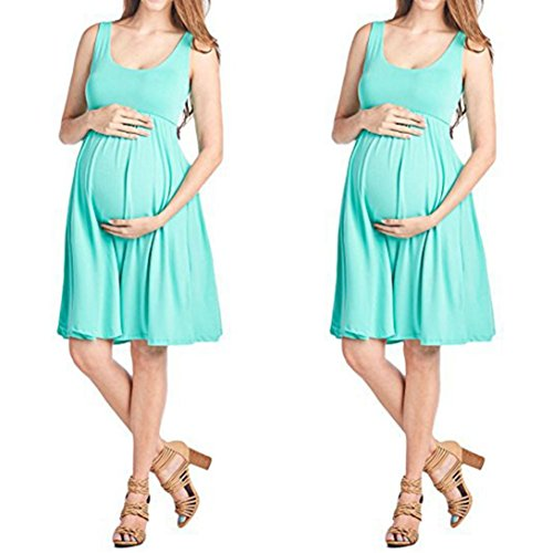 Robes Pure Pregnants Soirée cou Sans De Maternité Jupes Robe Taille Vert Enceintes Grande Été Adeshop Couleur fashion Femmes Manches Élégant O Solide Allaitement wSAw1T