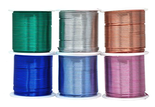 Mandala Crafts Anodized Aluminum Wire for Sculpting, Armature, Jewelry Making, Gem Metal Wrap, Garden, Colored and Soft, Assorted 6 Rolls (18 Gauge, Combo 7)