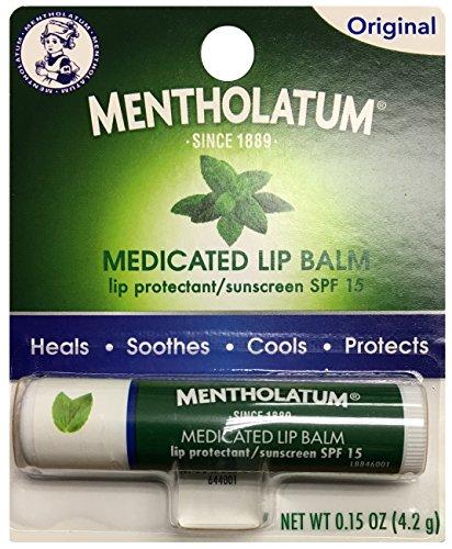 Mentholatum Medicated Lip Balm SPF 15, Original, 0.15 Ounce