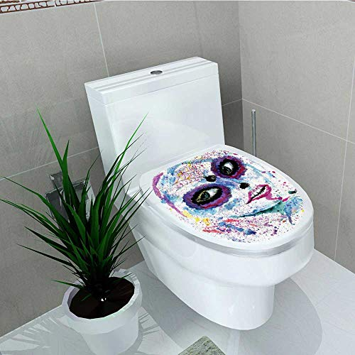 Printsonne Toilet Seat Wall Stickers Paper Grunge Halloween Lady Sugar Skull Make up Creepy Dead Gothic Woman Artsy Decals DIY Decoration W14 x -
