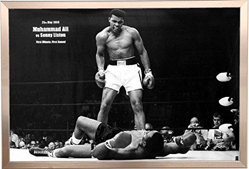 Framed Muhammad Ali (Vs. Sonny Liston) 36x24 Poster In Brushed ...