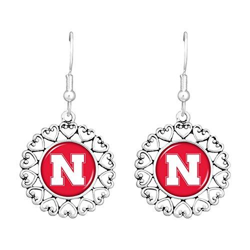 FTH Nebraska Cornhuskers Logo Circle Earrings with Hearts (Nebraska Cornhuskers Earring)