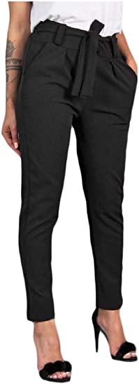 sayahe Women's Pure Color Elegant Skinny Mid-rise Belted Pants