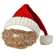 BIBITIME Christmas Knitted Crochet Santa Beanie Hat with Retractable Beard Mask