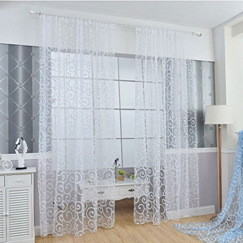 uxcell Floral Tulle Voile Door Window Curtains Drape Sheer Scarf Valances – White (One Panel)