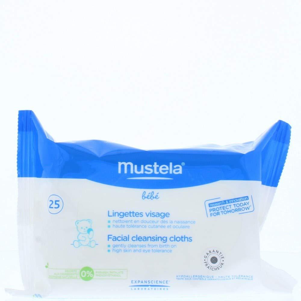 Laboratoire Expanscience Mustela Pack de 25 Lingettes de Visage Dévidoir pour Bébé MTL00028