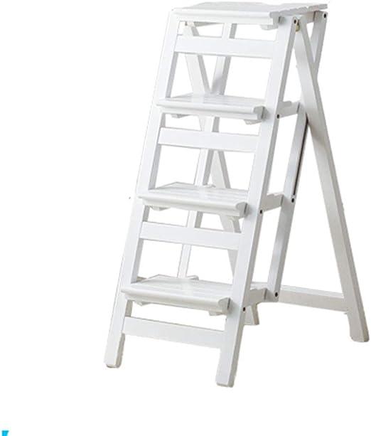Escaleras Escalerillas Escalera Plegable de 4 Pasos de Madera Blanca Ligera y Plegable para niños Adultos para la Cocina de Loft de la Biblioteca decoración del hogar - Capacidad de 150 kg: