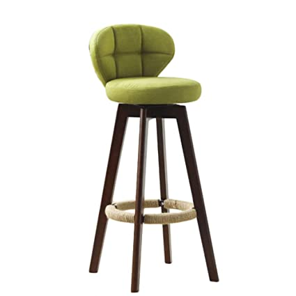 Amazoncom Liqicai Wooden Green Bar Stool Fabric Seat Swivel Stool