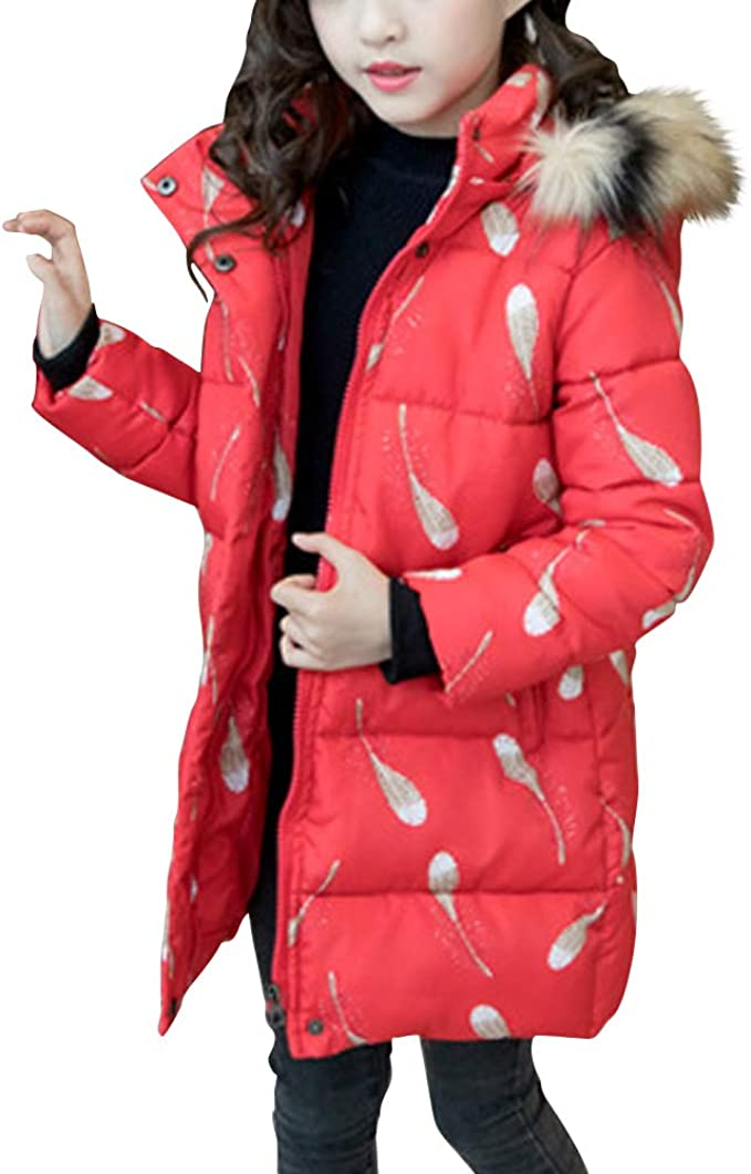 Girls Kids Padded Coat School Quilted Winter Jacket Puffer Fur Hooded Long Parka