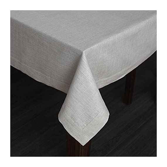 Solino Home 100% Pure Linen Tablecloth - 60 x 144 Inch Natural, Natural Fabric, European Flax - Athena Rectangular Tablecloth for Indoor and Outdoor use - Handcrafted by skilled Artisans from 100% European Flax Size - 60 x 144 Inch Easy Care - Machine Washable, Low Iron as Needed - tablecloths, kitchen-dining-room-table-linens, kitchen-dining-room - 51JkFsk7IPL. SS570  -