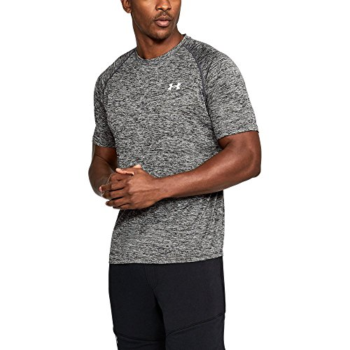 Under Armour Men's Tech Short Sleeve T-Shirt, Black /White, Medium
