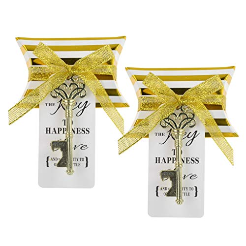 DerBlue 60 PCS Key Bottle Openers Wedding Favors Rustic Decoration with Love Escort Tag Card Pillow Candy Box and Satin Ribbon(Gold with Stripe) ()