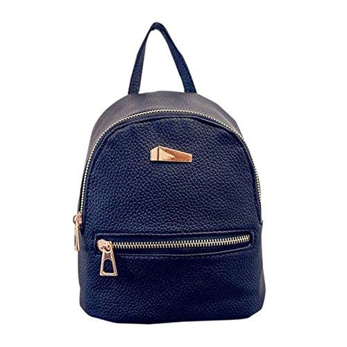 Yuan Women Backpack Handbag Faux Leather Casual Daypack Travel Rucksack Black