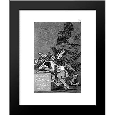 The sleep of reason produces monsters 20x24 Framed Art Print by Francisco Goya