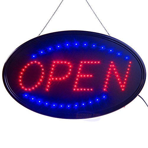 Large LED Open Sign for Business Displays: Oval Electric Light up Sign Open with 2 Flashing Modes | Lighted Signs for Hair Salons, Hotels | No use of Toxic Neon (Lighted Business Signs)