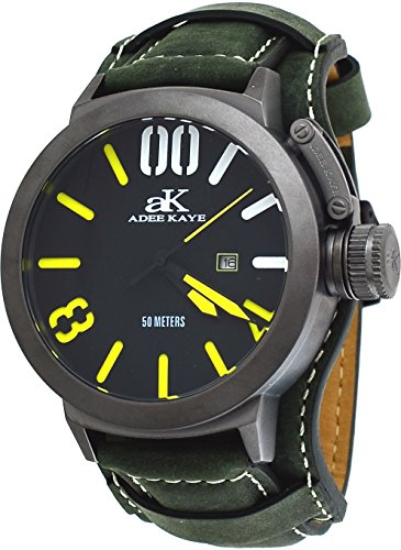 Adee Kaye #AK7285-IP/GN197 Men's Gunmetal Tone Canteen Crown Protector Leather Band Watch