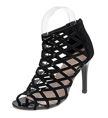 Tacón Aguja Sandalias Tamaño Más Zapatos Alto Negro Sexy Nvxie 35 De 41 qFtwE
